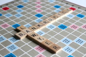 scrabble board says lawyer and bankruptcy