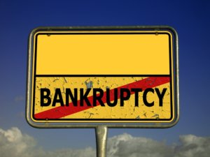 yellow bankruptcy sign