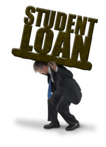 man with student loan sign